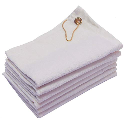 Georgiabags 3 Pack Terry Velour Golf Towels, 11x18 Fingertip Towels, Sport Towels, Corner Grommet & Hook (White)