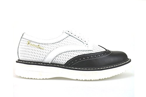 BRACCIALINI Oxfords-Shoes White Black Leather AH364 (6 US / 36 EU)
