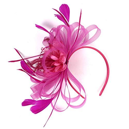 BCDshop Women Retro Headpiece Flower Ribbon 20S Flapper Headband Party Wedding Fascinator (Hot Pink) ()