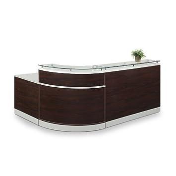 Esquire Glass Top Reception Desk 79 W x 63 D Mahogany Laminate Silver Laminate Desktop Kickplate and Accents Glass Top