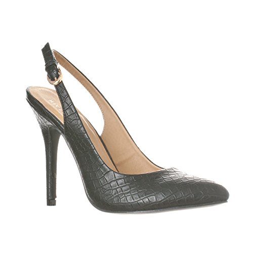 Riverberry Women's Lucy Pointed-Toe Sling Back Pump Stiletto Heels, Black Croc, 10