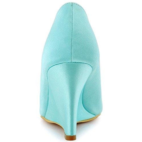 Elegantpark WP1547 Mujer Fiesta Cuña AF01 Desmontable Flores Rhinestone Zapatos Clips Satén Zapatos De Boda Menta