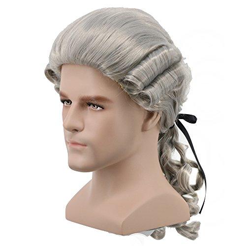 Yuehong Long Mens George Washington Cosplay Curly Gentleman Lawyer Wig Halloween Hair