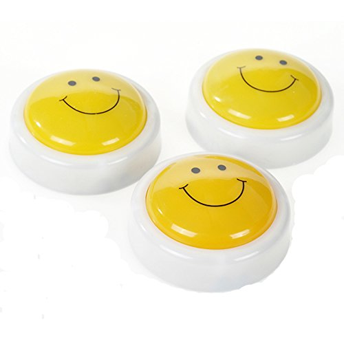 Buddy Kidslight Touch Night Light - Mini Wireless Battery Powered Press ON OFF Click Cylinder Lamp Nightlight 0.3W 10Cm Super Bright Yellow Ideal for Kid's Rooms and Party Seldorauk(Pack of 3) by Seldorauk