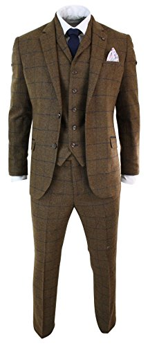 Mens Herringbone Tweed Tan Brown Check 3 Piece Wool Suit Peaky Blinders Navy Wool Tweed Pants