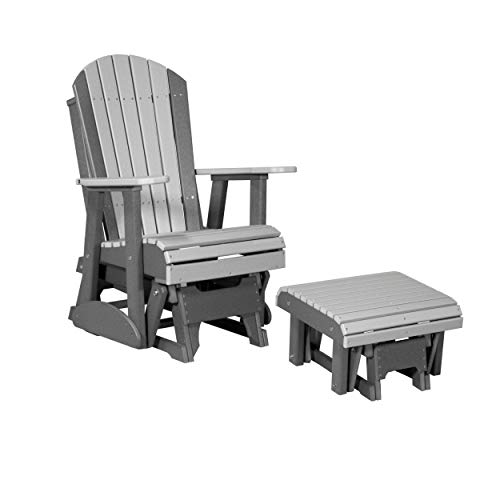 LuxCraft Poly Recycled Plastic 2' Adirondack Glider Chair with Ottoman Foot Rest Set (Earthtone - Dove Gray & Slate)