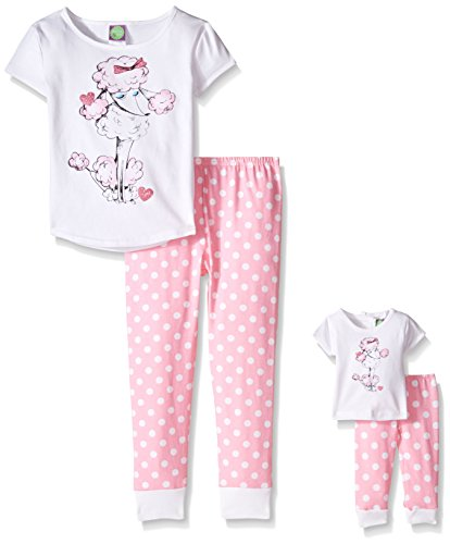 Dollie & Me Big Girls' Poodle Snugfit Sleepwear Set, White/Pink, (Pink Polka Dot Poodle)
