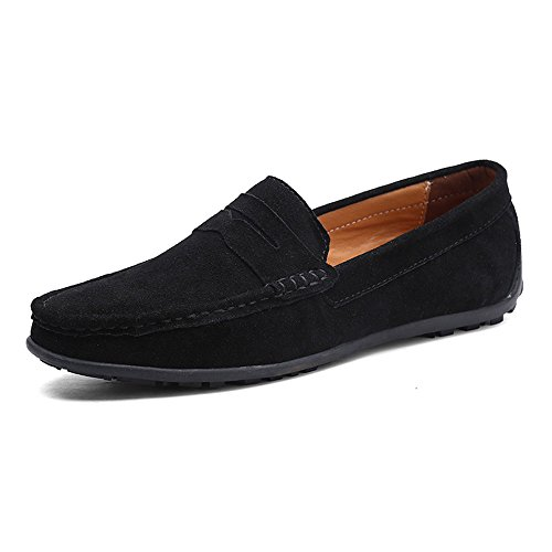 Black Calfskin Loafer Shoes - VILOCY Men's Casual Suede Slip On Driving Moccasins Penny Loafers Flat Boat Shoes Black,41