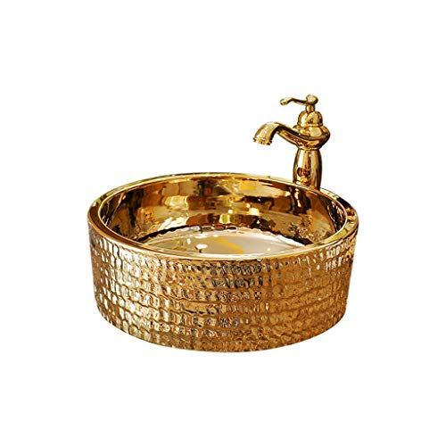 DZXM Above Counter Basin Bathroom Ceramics Washbasin Wash Your Face Sink Round Countertop Gold Washing Pool