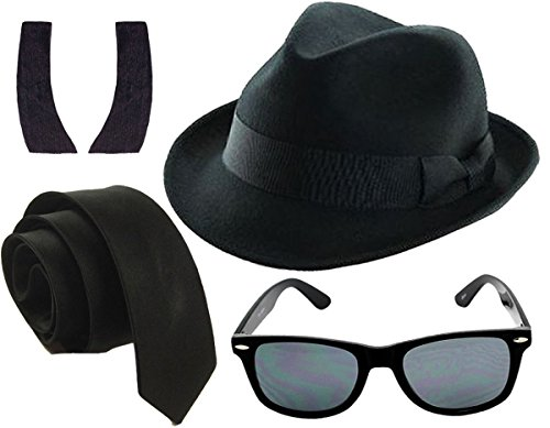 Glossy Look Men's 1980's Blue Brothers et Costume Hat Tie Glasses Sideburns One Size - Costume Brothers The Blues