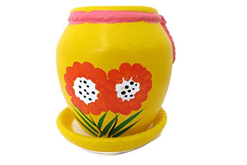 Small jar Ceramic Potted Plants, Flower pot ceramic indoor outdoor,tabletop ceramic potted plants, Cute Ceramic planter, Plant pot, mini square plant pot(Yellow)