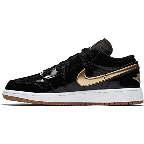 Jordan Nike Kinder Air 1 Retro Low OG BG Basketballschuh Schwarz Metallic Gold Weiß