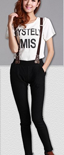 De Boutons Bouton Accolades Forme R¨¦glable Pantalon Y ¨¦lastiqu¨¦e Marron Type Femmes Fonc¨¦ Bretelles Avec x1PHqpwq0