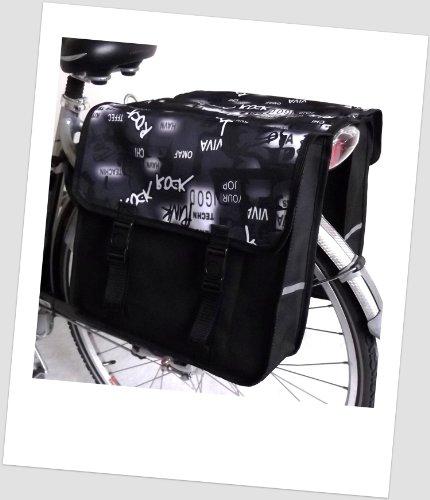 TJ-C-45 Fahrradtasche JENNY CLASSIC PIRAT Black White Satteltasche Gepäckträgertasche 2 x 14 Liter Schwarz Weiß