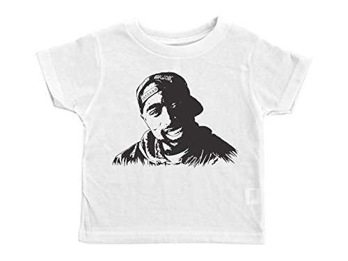 Baffle Tupac Toddler Shirt/Tupac (Portrait)/Unisex Crew Neck Tshirt/Hip Hop (2T, White) by Baffle