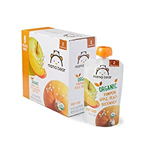 Amazon Brand – Mama Bear Organic Baby Food, Stage 2, Pumpkin Apple Peach Buckwheat, 4 Ounce Pouch (Pack of 12)