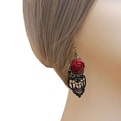 (Rose Noir Women Girls Black lace Choker necklace Earrings Fascinating Accessory Christmas Halloween party (Red rose earrings))