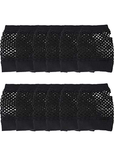 12 Pairs Nylon Fingerless Fishnet Gloves Neon Mesh Gloves 80s Party Gloves for Party Dressup Favors (Black) -