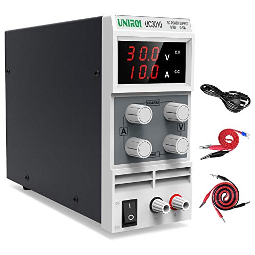 UNIROI DC Power Supply Variable, 30V 10A Adjustable Switching Regulated Power Supply with 3-Digit LED Display, Alligator Clip Leads (Banana Plug and Spade Lugs), Input Power Cord UC3010