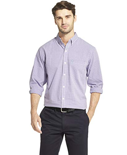 (IZOD Men's Slim Fit Button Down Long Sleeve Stretch Performance Gingham Shirt, Ultra Violet, Medium)