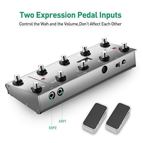 MIDI Foot Controller,MeloAudio Guitar Floor Multi-Effects Portable USB MIDI Foot Controller with 10 Foot Switches,2 Expression Pedal Jacks and 8 Host Presets