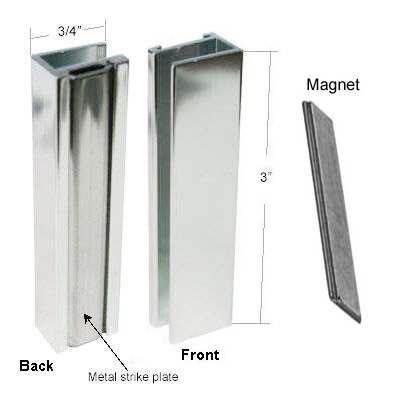 Bright Chrome Shower Door U Channel With Metal Strike And Magnet   Set    Shower Door Replacement Magnet   Amazon.com