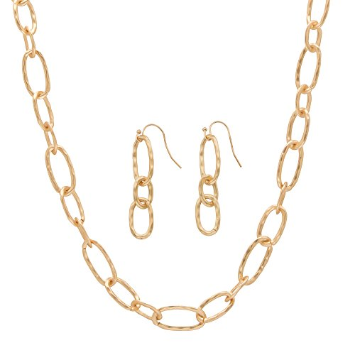 Hammered Oval Ring Necklace (14k Yellow Gold Plated 2 Piece Set Hammered Oval Link Necklace and Drop Earrings Set 32