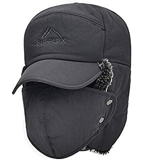 Unisex Winter Warm Trapper Hat 3 in 1 Faux Fur Bomber Hat Earflap with Removable Full Face Mask Windproof Trooper Hat Baseball Cap Snow Ski Aviator Cap for Cycling Camping Hiking Running Traveling