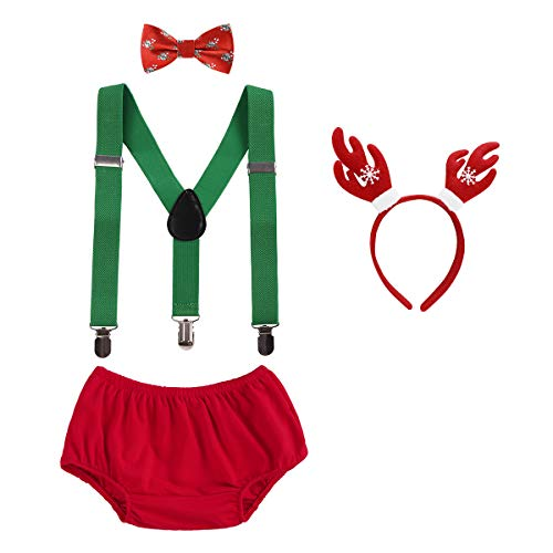 OBEEII Christmas Holiday Party Baby Toddler Boy Cake Smash Outfits Suspender Bottoms Tie Headband Dress Up Fancy Costume 4PCS Deer Set: Christmas Candy Cane