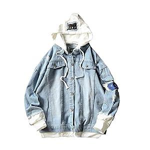 Men's Splicing Denim Printed Pullover Long Sleeve Hooded Sweatshirt Tops Blouse