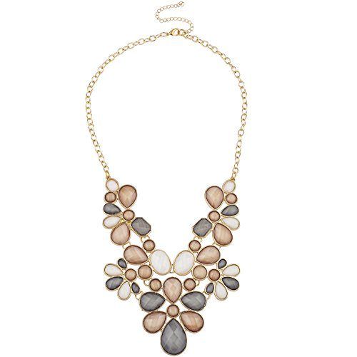 Lux Accessories Gold Tone Multi Flower Stone Statement Bib Necklace for Women