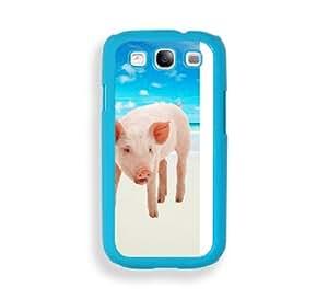 Hipster Beach White Piglet Aqua Plastic Bumper Samsung Galaxy S3 SIII i9300 Case - Fits Samsung Galaxy S3 SIII i9300