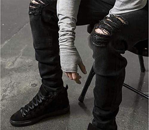 Super Strappati Pantaloni nero Uomo Trunks Da Slim Skinny Denim Design Stretch Jeans Fit Nero Blu Fashion qqaAw0