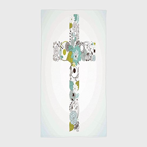One Side Printing Hotel SPA Beach Pool Bath Hand Towel,Baptism Cross Made from Flowers Blessing Blossom newborn Catholic Party Illustration Seafoam Avocado Green,for Kids Teens and Adults by iPrint