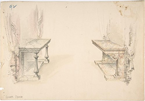 Fine Art Print | British, 19th Century | Designs for Two Marble Pier Tables with Draperies | Vintage Wall Art | 24in x 16in ()