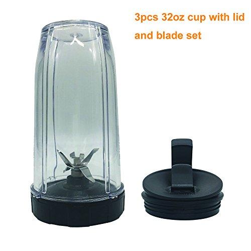 32oz Cup and 6Blade of7fins gear with Sip & Seal Lid for nutri ninja:BL2012/BL2013/BL450/BL480/BL480D/481/482/486/487/487A/488W/490/491/492/492W/640/642/642W/642Z/680A/682/NN100/NN100A/NN101/NN102