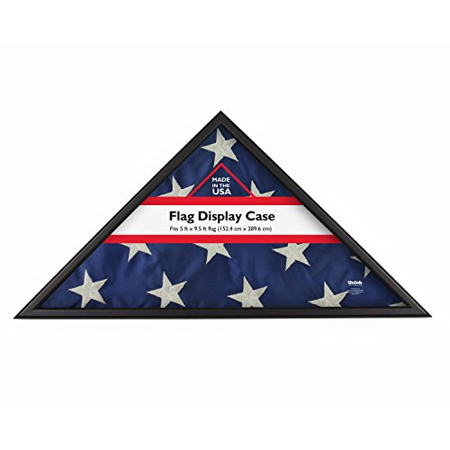 Display Flag Memorial Day (DesignOvation Memorial Flag Case, Black Wood, Made in USA, Holds 5'Hx9.5'W Folded Flag)