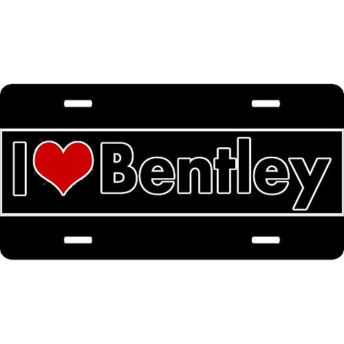 XYcustomBest Matte Black Retro License Plate Frame, Supernatural Print License Plate Frame, i Love Bentley Motors British Luxury automakercute, Auto Car Truck for US/CA Standard, 2 Hole