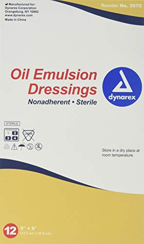Dynarex Sterile Oil Emulsion Knitted Gauze Wound Care Dressing Non Adherent Latex Free, 5