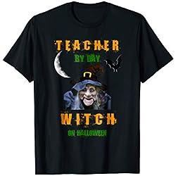 School Teacher By Day Witch On Halloween Night Tshirt Funny