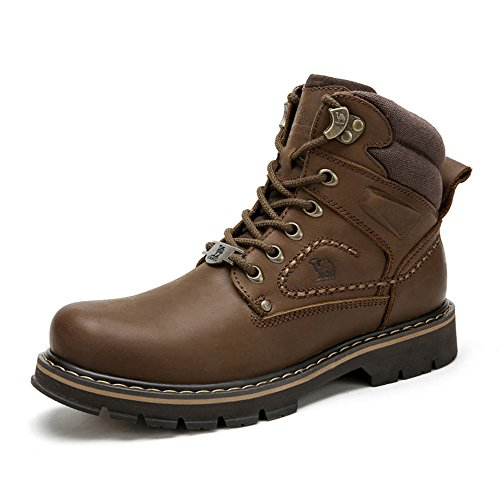 Camel Mens Work Boots Round Toe Leather Insulated Construction Non-Slip Work Shoes High Top Work Safety Shoes Martin Boots Brown by Camel