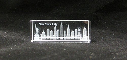 New York Souvenir NYC Skyline 3D Crystal Laser Etched Glass Paperweight with Statue of Liberty Empire State Building Freedom Tower Mini - Store Glasses Nyc