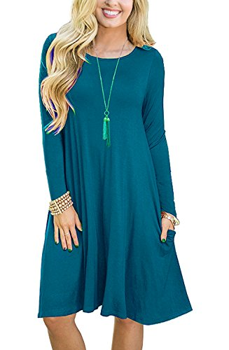 PCEAIIH Women's Summer Plain Simple Pocket T-Shirt Loose Casual Midi Dress (Medium, 5-Long Sleeve-Acid Blue)