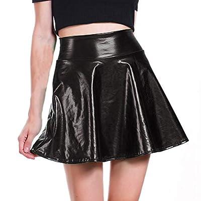 DODOING Women's Shiny Metallic Flare Skater Skirts Disco Mini Skirt Casual Fancy Dress