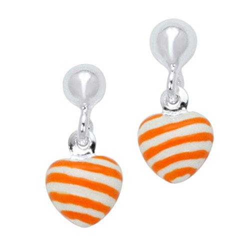 UNICORNJ Sterling Silver 925 Childrens Earrings with Enamel Orange Striped Heart Charm Italy