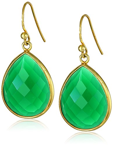 Gold-Plated Sterling Silver  Faceted Green Onyx Teardrop Earrings Faceted Green Onyx