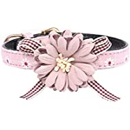 Axgo Adjustable PU Leather Cat Pet Collar with Flower and Bow Tie for Kitten Small Dogs Chihuahua Yorkie, 1.3 x 32cm, Pink