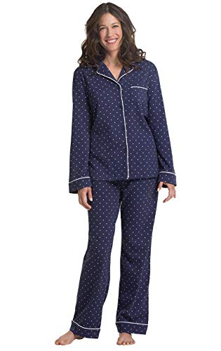 PajamaGram Pajama Set for Women - Cotton Jersey Pajamas Women, Navy, M, 10-12