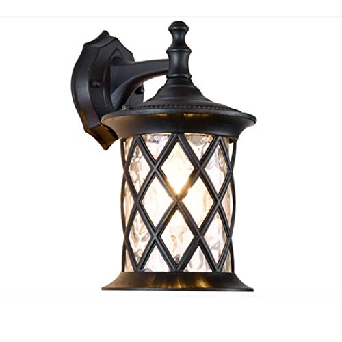 GL-61966-L,Wall Lamp,Outdoor Waterproof Rustproof Wall Lantern with Net Cages Shade,Antique Wall Sconces Landscape Light for Courtyard Corridor Bath Black