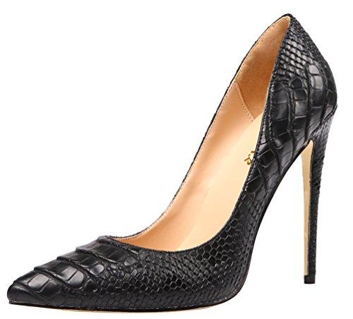 AOOAR Women's High Heel Snakeskin-Print Black PU Party Pumps 7 M US (Snakeskin Embossed Pumps)